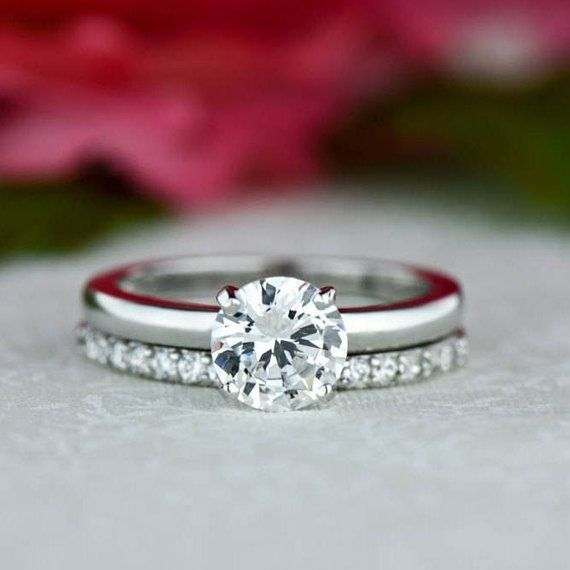 1 ct Round Bridal Set Solitaire Ring Half Eternity Band   Etsy #solitairering