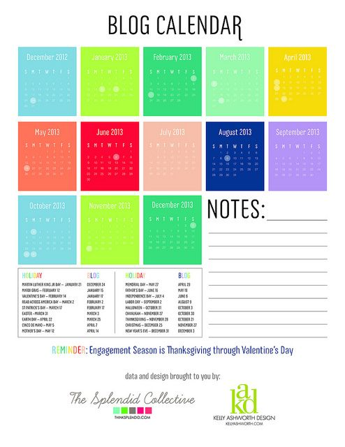 DIY PR: Blog Calendar for Holiday Blogging via Think Splendid + Kelly Ashworth Design
