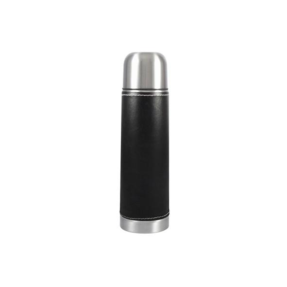 COD.TT028 Termo de Acero Inoxidable de 1/2 Litro, con funda de PU negro (removible). Capacidad: 500 CC.
