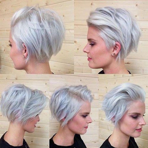short silver grey blonde choppy bob