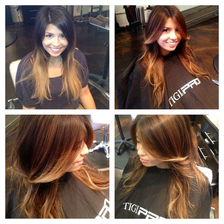 Before and After Ombré to Balayage with Caramel Highlights