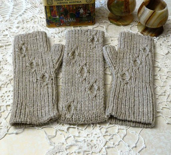 Knitted set headband and fingerless gloves Valentines gifts