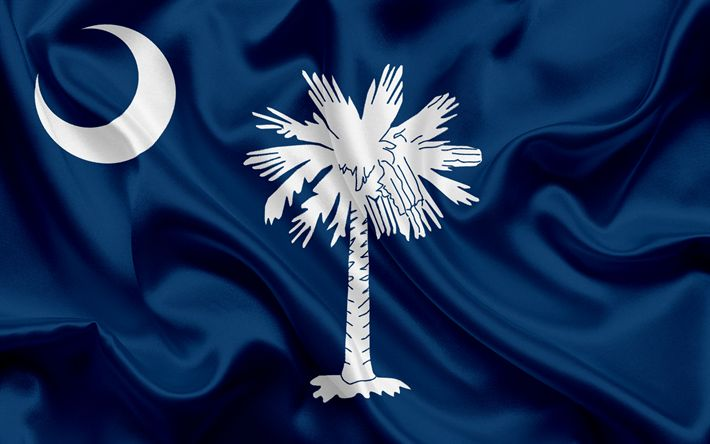 Descargar fondos de pantalla Estatal de Carolina del sur de la Bandera, banderas de los Estados, de la bandera del Estado de Carolina del Sur, estados UNIDOS, del estado de Carolina del Sur, azul, bandera de seda, Carolina del Sur, escudo de armas