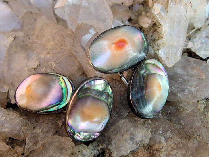 Edwardian Sterling Silver Oval Blister Pearl Cuff Links, Vividly Colored Button Style Pairs, Shank, Connector on Back, Signed, 5/8 by 7/16 by postGingerbread on EtsypostGingerbread