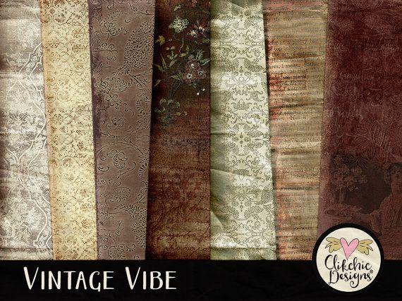 The Vintage Vibe Digital Scrapbook Kit clipart features Shabby, Grunge and beautiful heritage patterns perfect for vintage, heritage, rustic or feminine digital scrapbook layouts and genealogy craft. A beautiful collection of textures, lace and aged metal to make your collectible