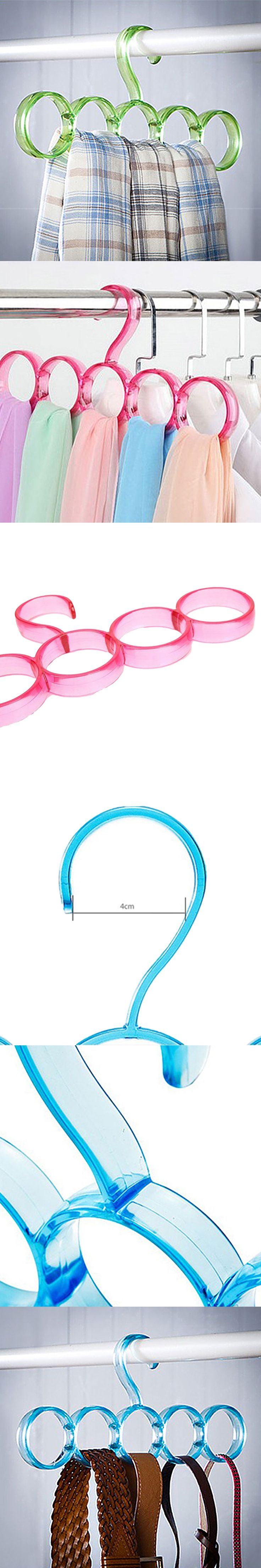 New Arrival 5-hole Ring Rope Slots Holder Colorful Simple Five Rings Scarf Racks Scarves Tie Hanger