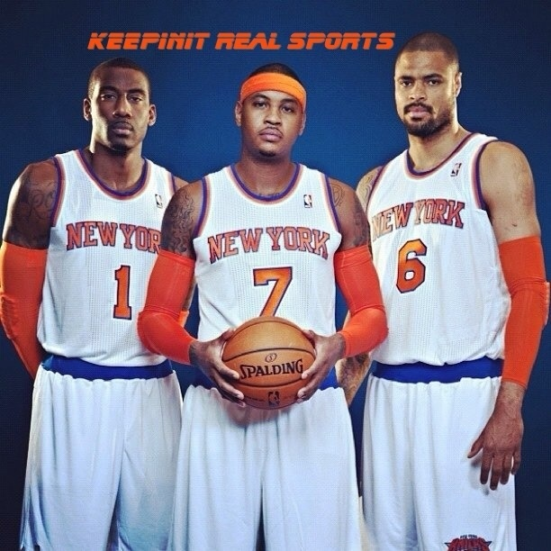 NBA:  New York Knicks  Carmelo Anthony, Amare Stoudemire and Tyson Chandler