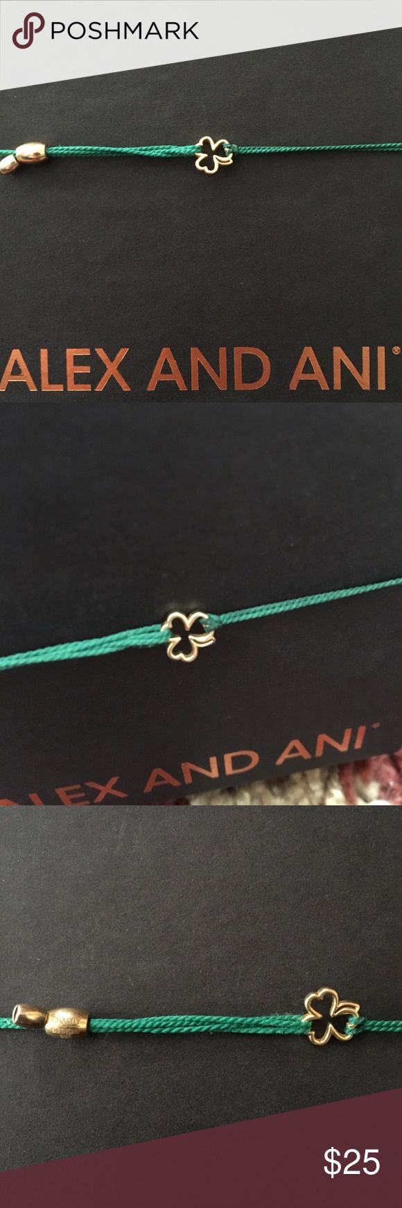 Alex and Ani Pull Cord Shamrock Just in time for St. Patrick's Day! Alex and Ani pull cord gold shamrock bracelet. 14 karat gold shamrock on a green silk cord. Was released for st. Patrick's Day last year through the Charity by Design collection. Safe to wear in the shower. Purchased at the flagship Alex and Ani store! Alex & Ani Jewelry Bracelets