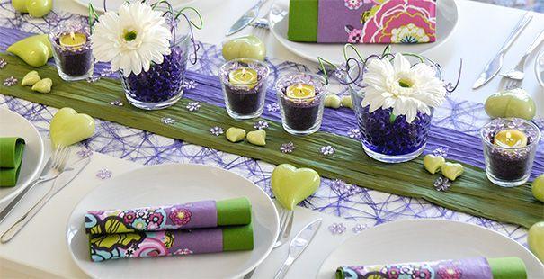 Neu aufgenommen Tischdekoration in Lila und Grün Eine genaue - deko gartenparty grun