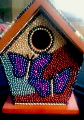 Decorative Beaded Birdhouse Bird House Blue Bead Butterflies Southwestern | eBay