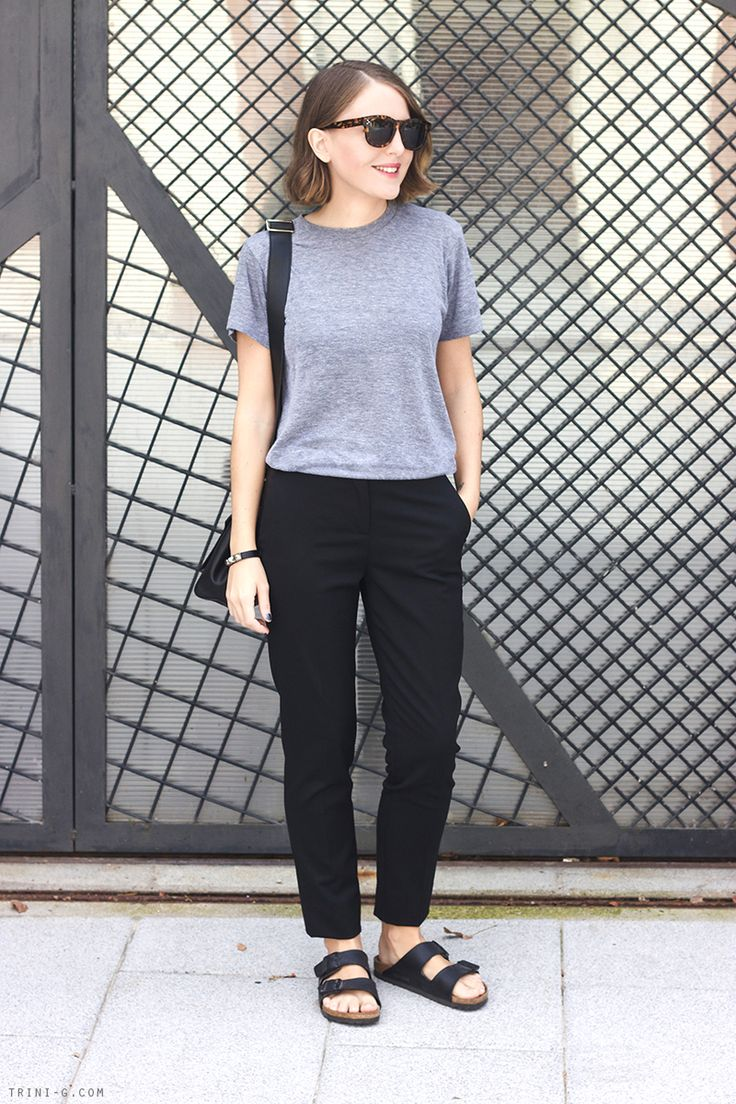Trini | The Kooples black trousers American Apparel tshirt Birkenstock sandals Anya Hindmarch bag