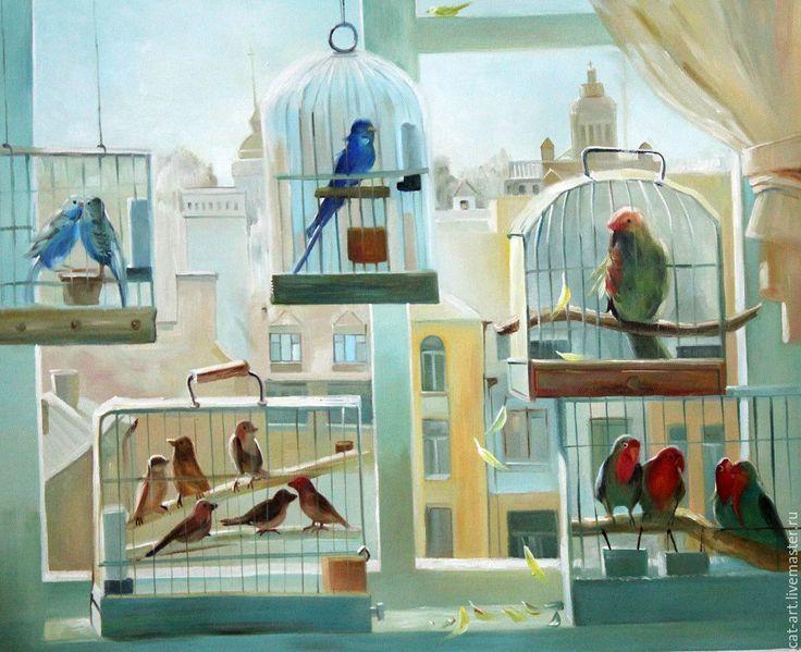 Купить У окна - картина маслом на холсте - голубой, птицы, птица, птица в клетке, окно