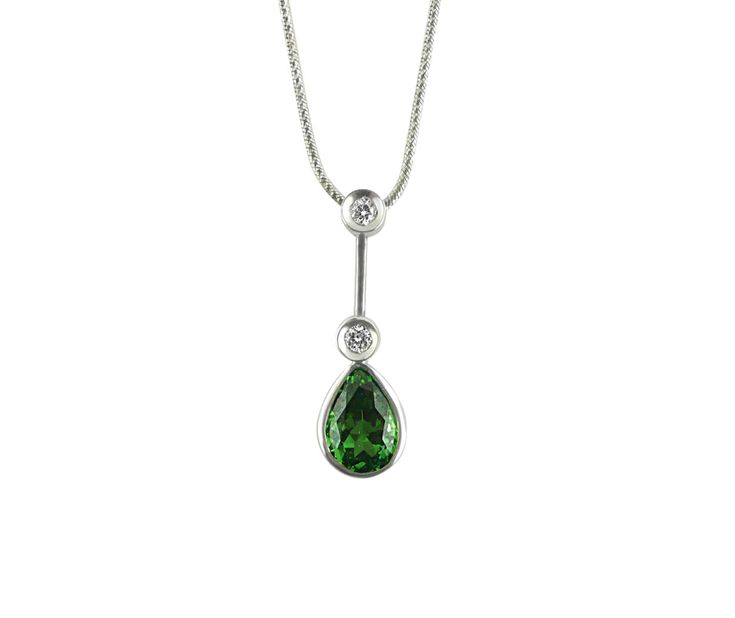 A Modern 18ct White Gold, Diamond and Tsavorite Pendant