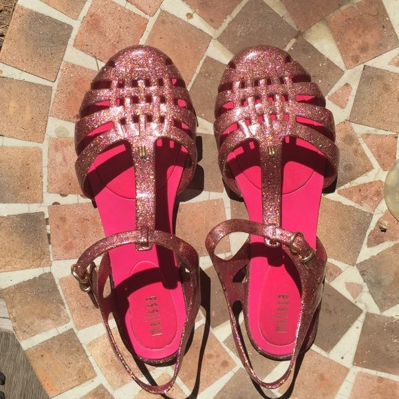 "Glittery ""jelly"" shoes. Pink glitter jelly shoes or sandals. Super cute great condition! From Nordstrom's. Melissa  Shoes"