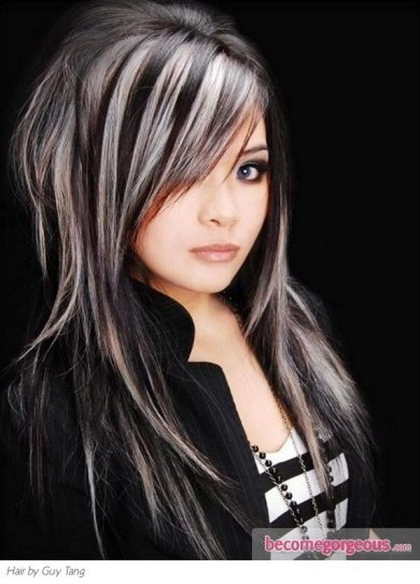 Black Hair with Platinum Blonde Highlights.