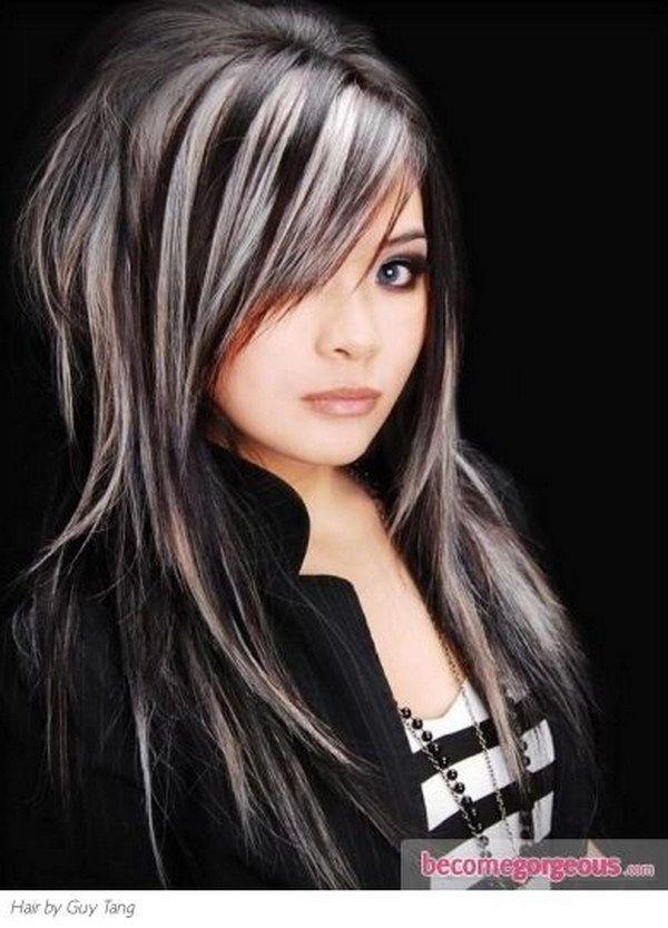 Black Hair with Platinum Blonde Highlights.