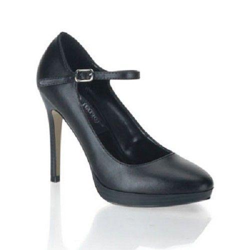 Bliss-31 zwart mat -vintage, pin-up, retro hakken schoen, pump met enkelbandje