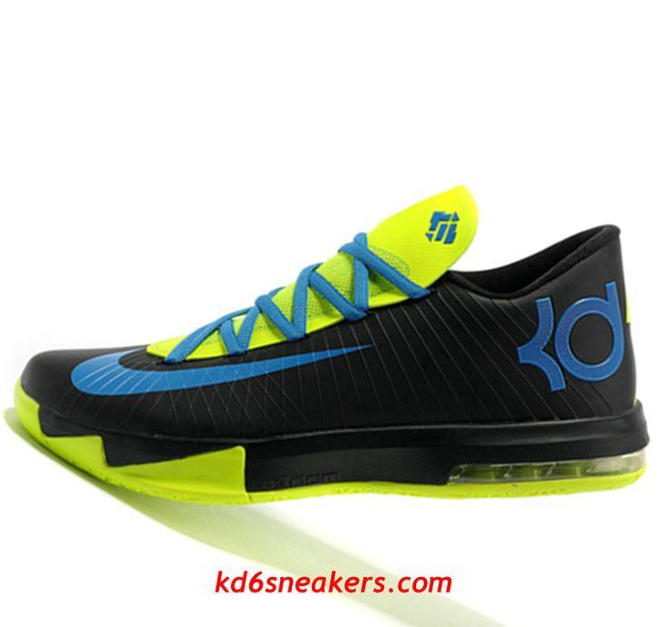 9200f087bf5 authentic nike kd vi 6 black color fluorescent green kevin durant basketball  shoes d5ff4 e8de0