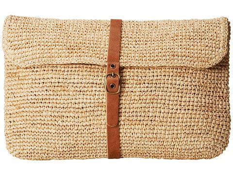Hat Attack Raffia Crochet Clutch (Natural/Leather Belt) - ZAPPOS