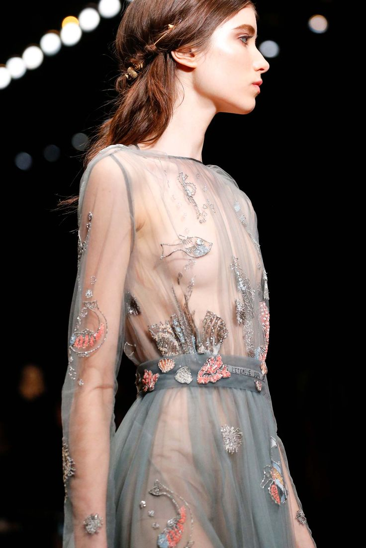 XTRA INSPIRATION: Valentino - Spring 2015 Ready-to-Wear, transparent dress with marine creature embroidery, gives people deep ocean image.