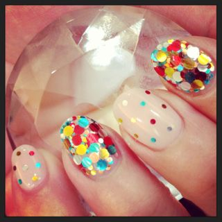 Nail party! Glitter nail art, multicolored large and small glitters alternating nails
