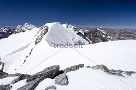 Summit ridge of Mt Piz Palu summit of Mt Piz Bernina with the Bianco ridge at back Mt Piz Morteratsch right Grisons Switzerland Europe