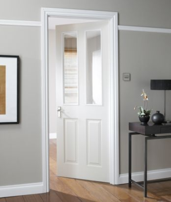 B&Q - 4 Panel White Smooth Internal Glazed Door, could match our other doors. NAT26TD4PG