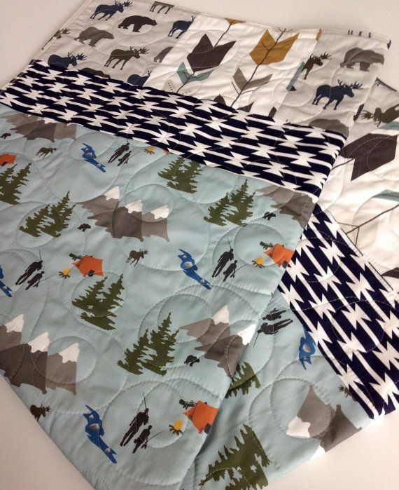 Baby Quilt Baby Bedding Camping Boy Nursery Fishing by CoolSpool