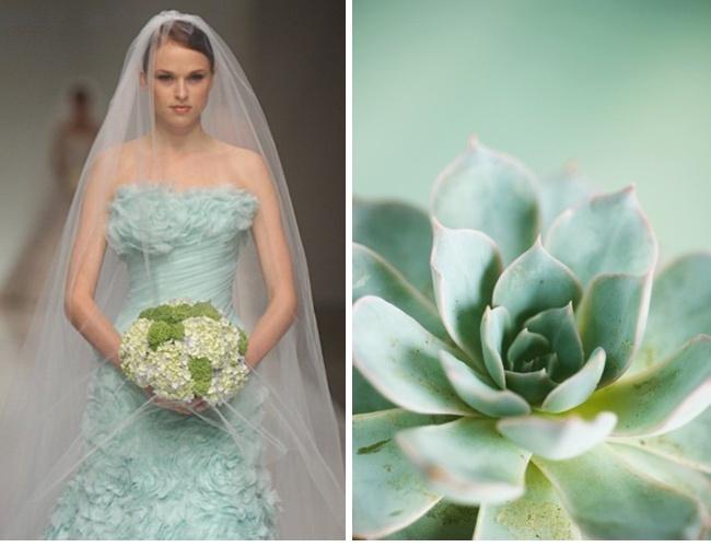 mint wedding dress and bouquet