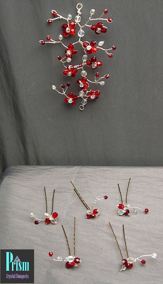 Crystal Hair Vine and Hair Pin Set Ruby Red by PrismBouquets, $20.00