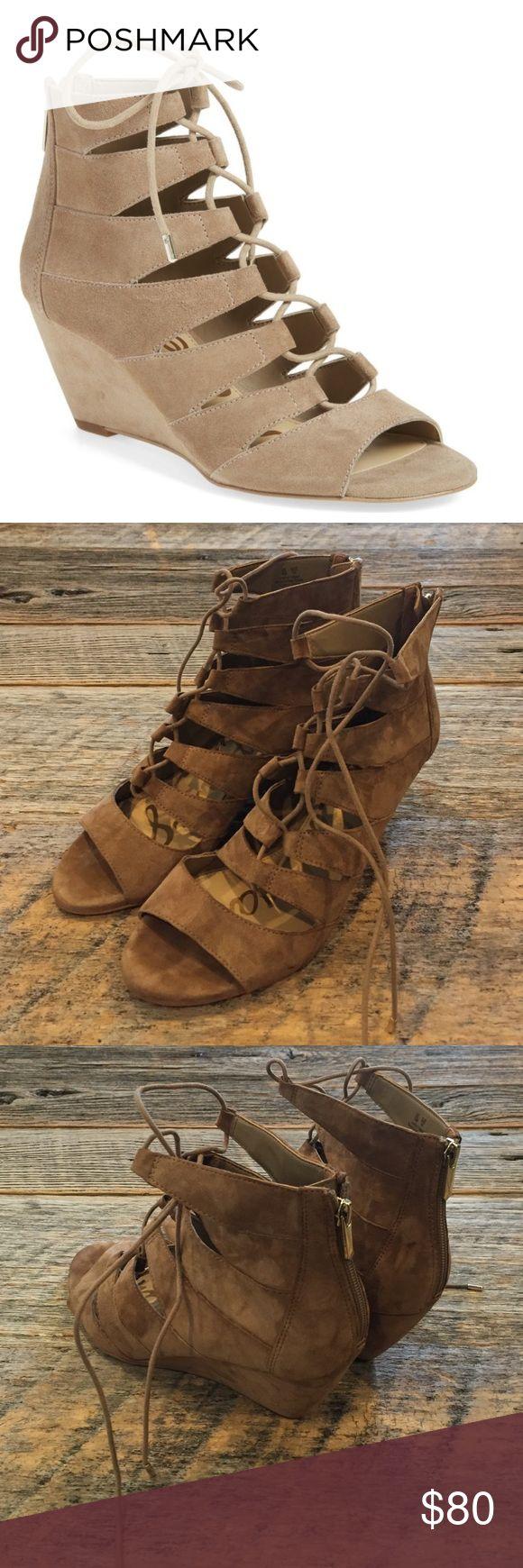 Sam Edelman Santina Lace Up Wedge sandals EUC, hardly worn. Oatmeal suede lace up wedge sandals. No box or trades. Sam Edelman Shoes Sandals