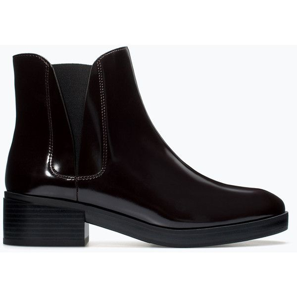 Zara Flat Elastic Chelsea Booties ($16) ❤ liked on Polyvore featuring shoes, boots, ankle booties, black, chaussure, zara, zara booties, flat booties, flat ankle booties and lined boots
