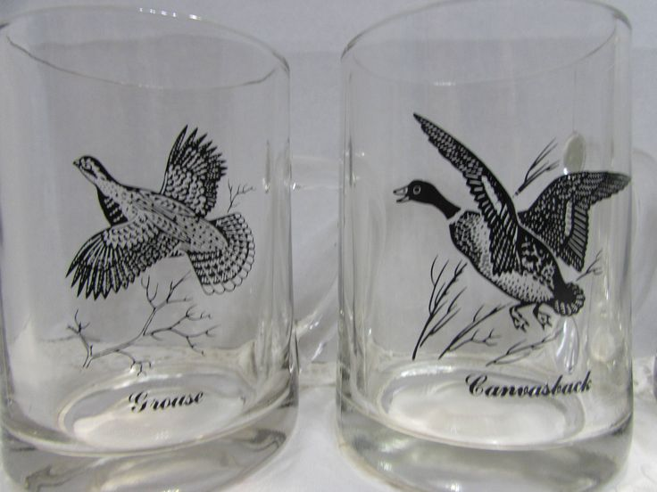 Vintage Clear Coffee Mugs featuring Geese and Ducks by mimishomefashions on Etsy
