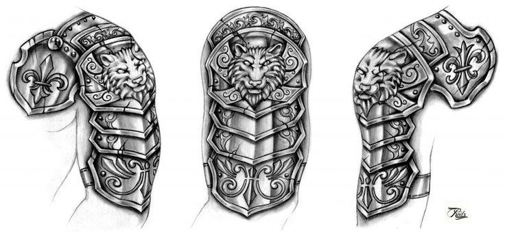 Black Wolf Armor Tattoo Design