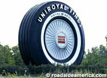 The World's Largest Tire in Allen Park, MI (a lot of auto history in Michigan)...I-94 just east of Detroit Metro Airport. The last road before you reach the tire is Southfield Freeway. Or via Baker College parking lot, just off Outer Drive in Allen Park. At the western edge of the parking lot, there is a dirt road that leads to the tire.