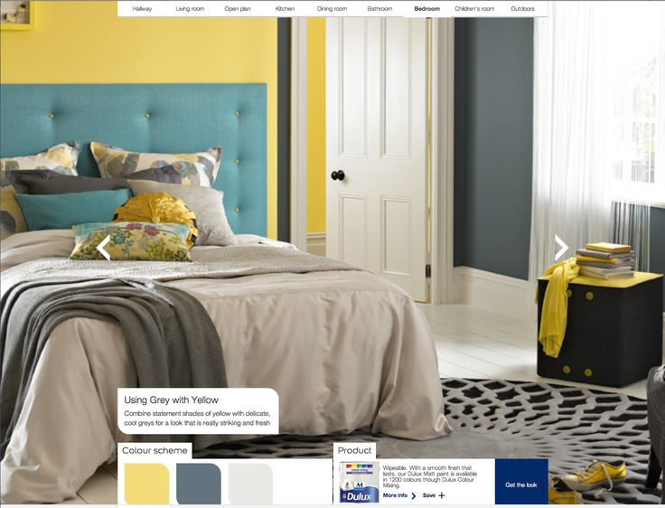 Grey & Yellow room paint from Dulux, nice colour headboard as well.
