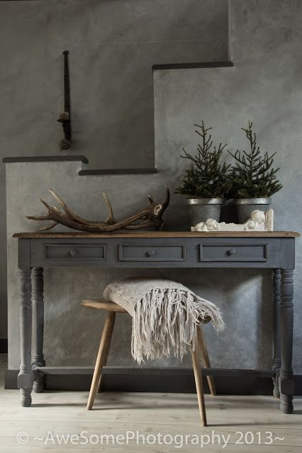 muted, milky rustic modern, chalk wash, raw wood, greenery not just for Christmas