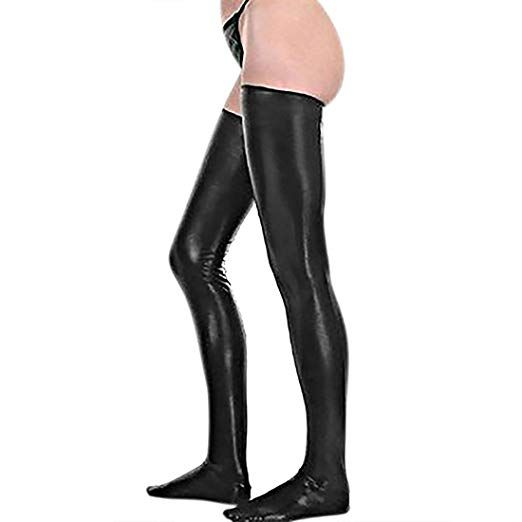 4acd6a2f7b212 Kloud City Black Women Sexy Shiny Stretch Metallic PU Leather Thigh High  Stockings Fashion Ladies Footless Wet Look Stockings