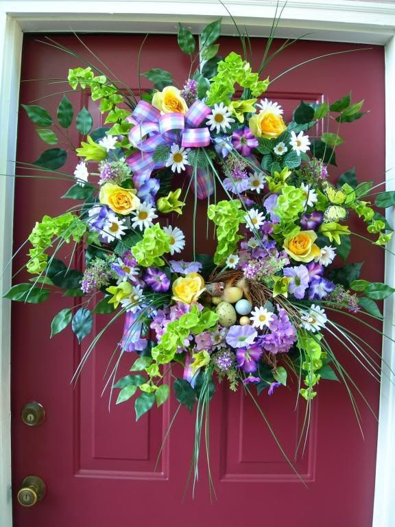 353 best images about wreathes 39 n door decor on pinterest Spring flower arrangements for front door