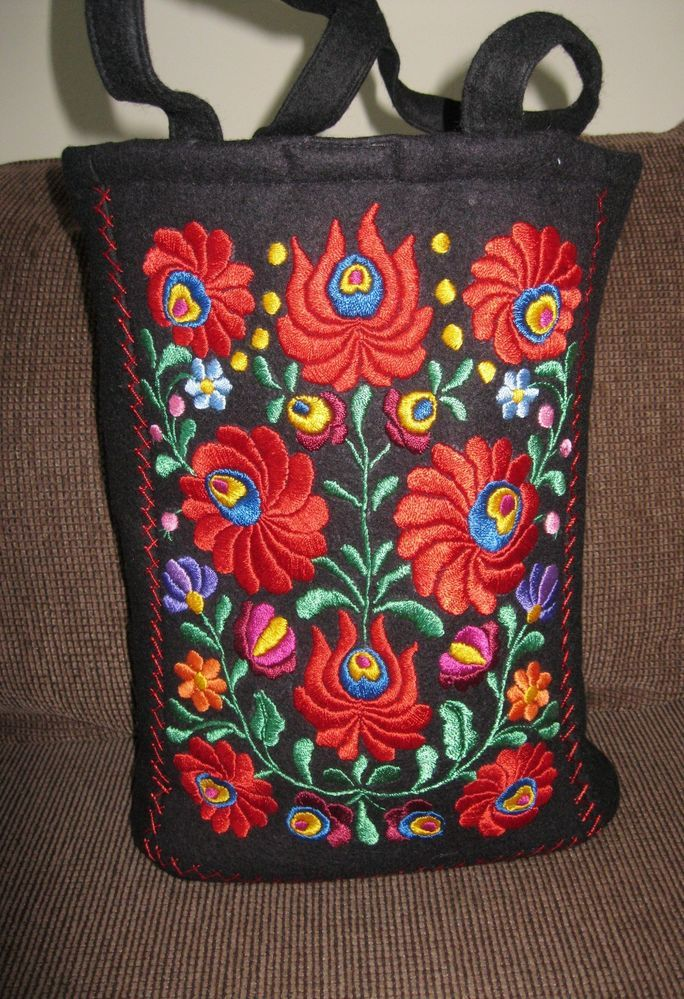 Hand embroidered Hungarian purse , ethnic embroidered Matyo Kalocsa BAG - RED