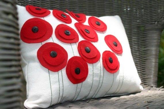 Poppy flower pillow  #pillow #flower #rosette