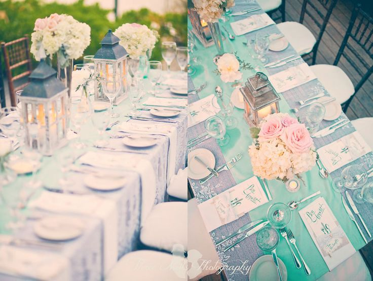 This wedding was beautiful! I want it. maybe a good idea to put aqua runner on silver tablecloth?