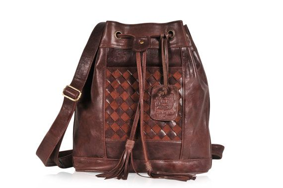 NEVERLAND. Brown leather backpack / brown backpack / convertible leather bag/ festival backpack/ boho. Available in different leather colors