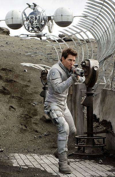 Though it's not technically spacewear, drone technician Jack Harper (Tom Cruise) wears a decidedly retro silver radiation suit as he roams the Earth in this