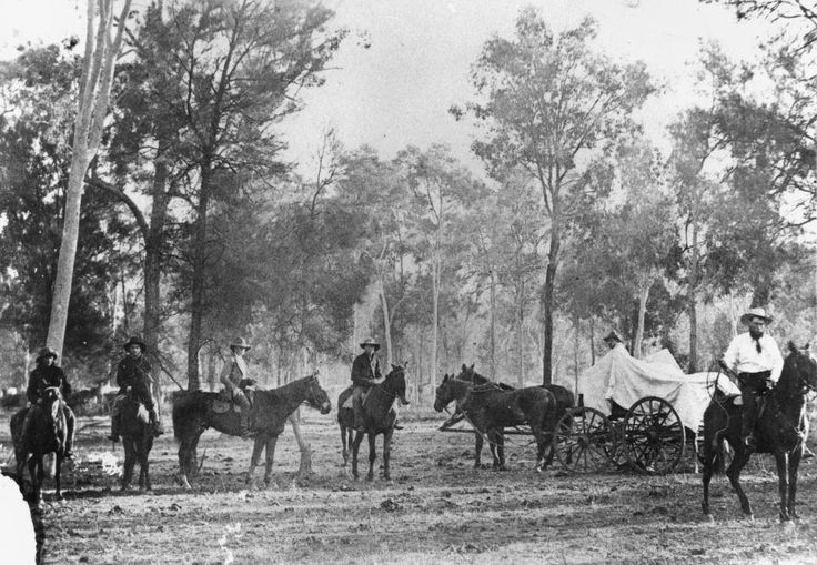 Group of Drovers on their Horses in the Gondiwindi Area, c. 1875