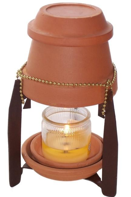 DIY Candle Heater - will keep you warm during a power outage.