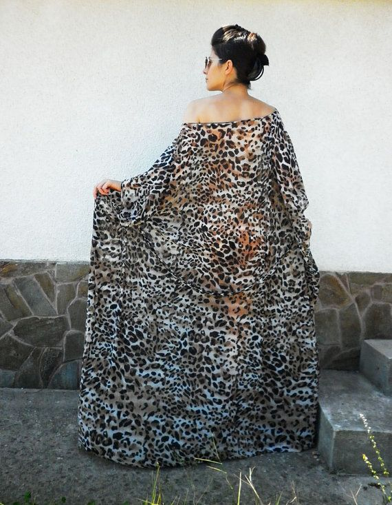 Leopard Printed Long Dress / Oversize Caftan/ Party by moShic, $89.00