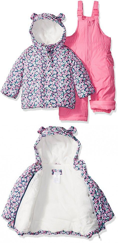 d77d5abd6bb Carter's Baby Girls 2-Piece Heavyweight Printed Snowsuit with Ears ...