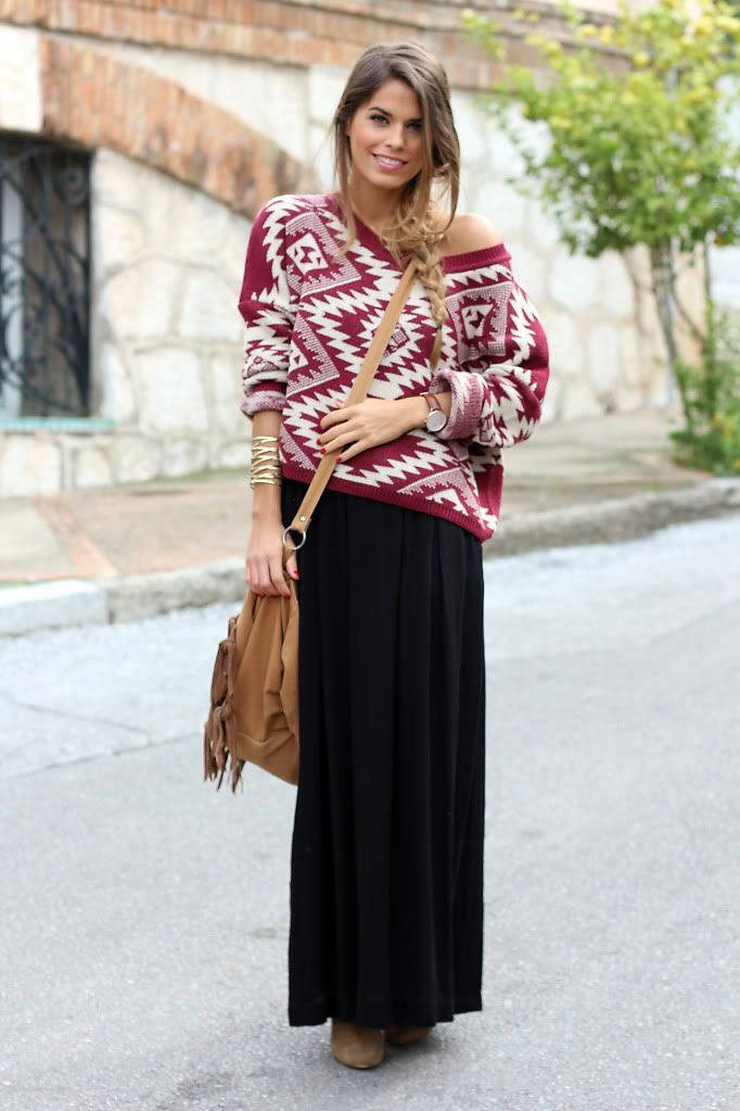 Aztec sweater fall outfits womens fashion clothes style apparel clothing closet ideas  black long skirt brown shoulder bag