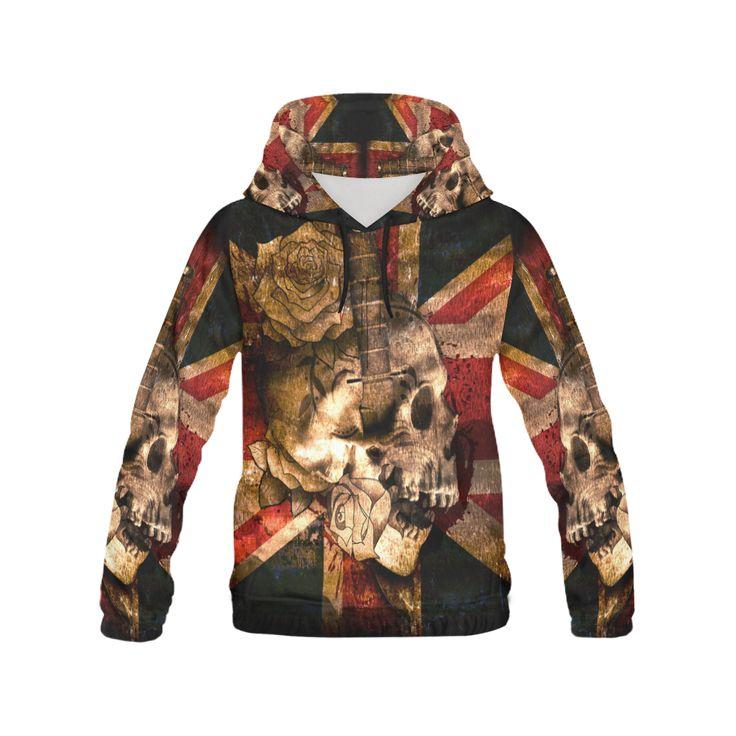 Grunge Skull and British Flag Women All Over Print Hoodie #hoodie #erikakaisersotdesign @artsadd